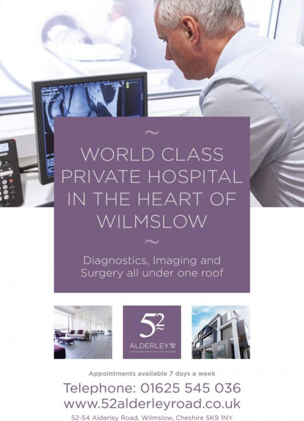 Purple text box at forefront, detailing 'World class private hospital in the heart of Wilmslow- diagnostics, imaging and surgery all under one roof'.  Background image appears as though a doctor is monitoring an MRI scan. Contact details under hospital thumbnails.