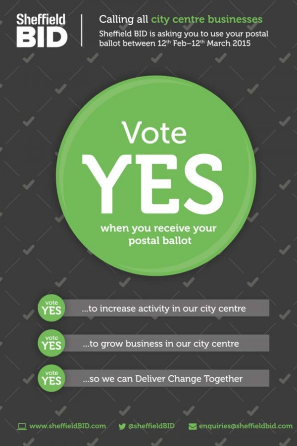 Campaign poster, black background with bright green ballot buttons proclaiming 'Vote Yes'.