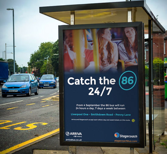 6 sheet bus shelter advert for Stagecoach and Arriva Liverpool
